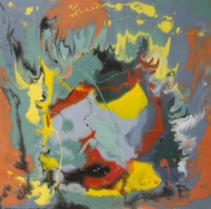 Ansiedad Resina epoxi y pigmentos / Tabla73 x 73 cm