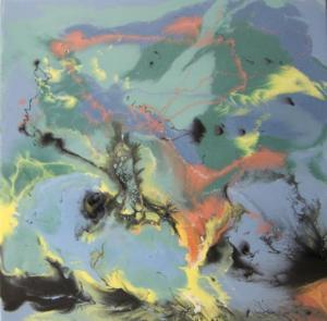 Soledad Resina epoxi y pigmentos / Tabla50 x 50 cm.